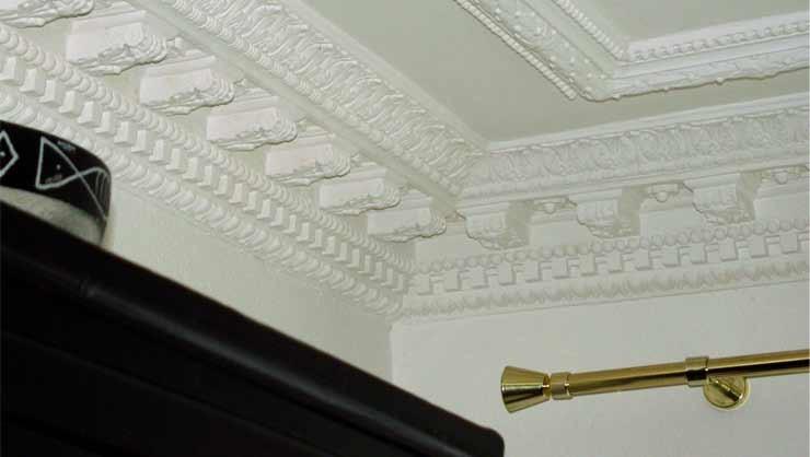 Detail des restaurierten Stuckprofils