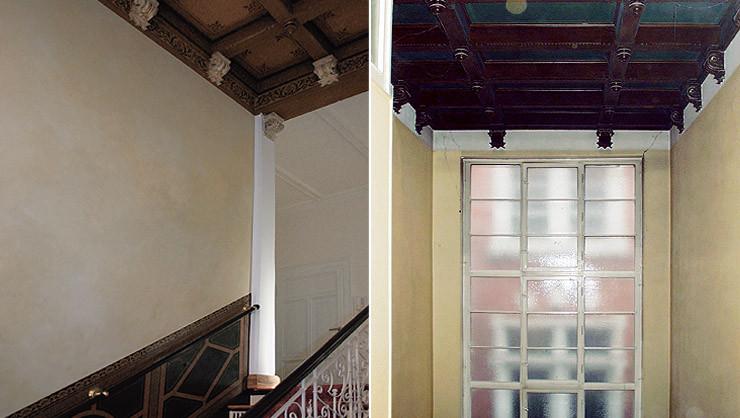 Treppenaufgang zum 1. OG vor und nach den Restaurierungsarbeiten