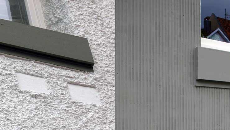 Kellenspritzbewurf mit eingelassenen Kacheln (links) und Scharrierputz (rechts)