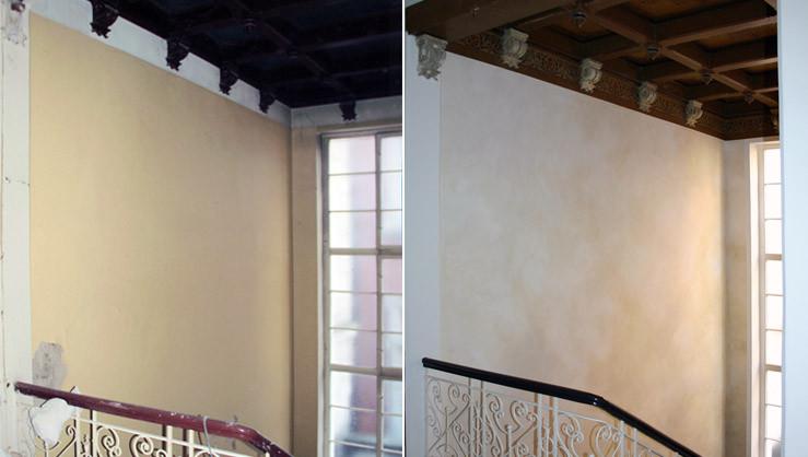 Wandfläche Treppenaufgang vor und nach ausgeführter Wandgestaltung