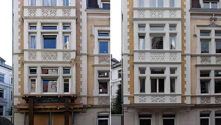 Risalit vor und nach der Restaurierung