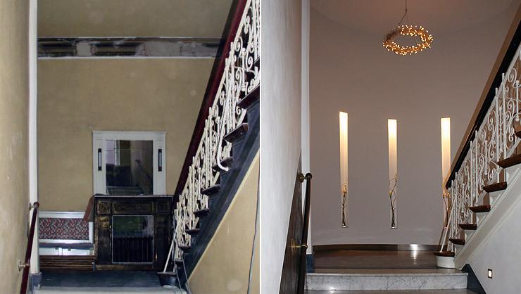 Eingangsbereich vor und nach den Restaurierungsarbeiten