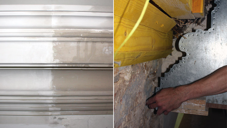 Anschlussbereich des alten und neuen Gurtgesims/Schablone mit dem Profil des Gurtgesims