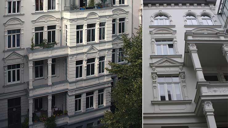 Ausschnitt der restaurierten Fassade/Detailansicht der Fensterachse
