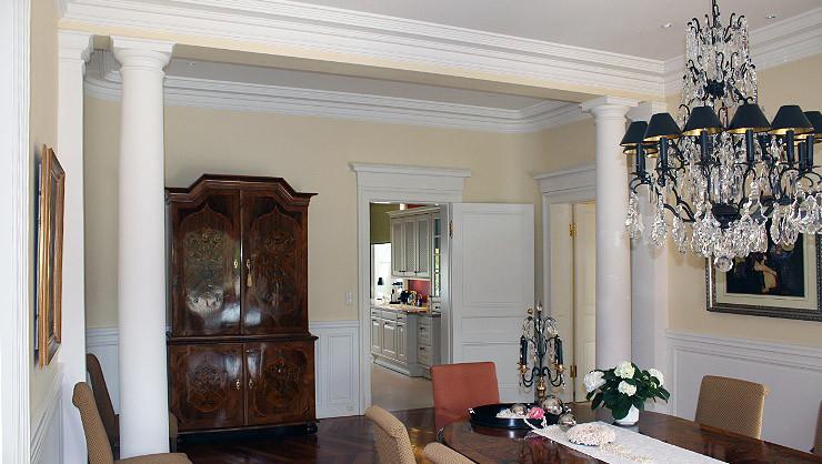 Stuckausstattung im Esszimmer mit gerundeten Wandübergängen