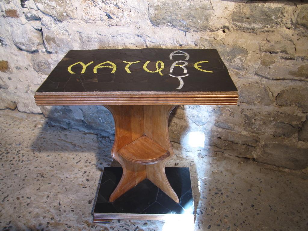 """Table """"Art et Nature"""" : ardoise naturelle, émaux de Briare, miroir"""