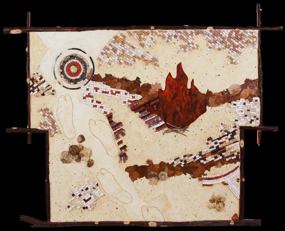 Bio-Scène : marbres, travertin, combre blanche, grès cérame, miroir, bois flotté, huile sur bois, fossiles, feuilles séchées