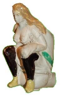 Franse kleipijp van Fiolet, dame op de pot. Daterend eind 1800