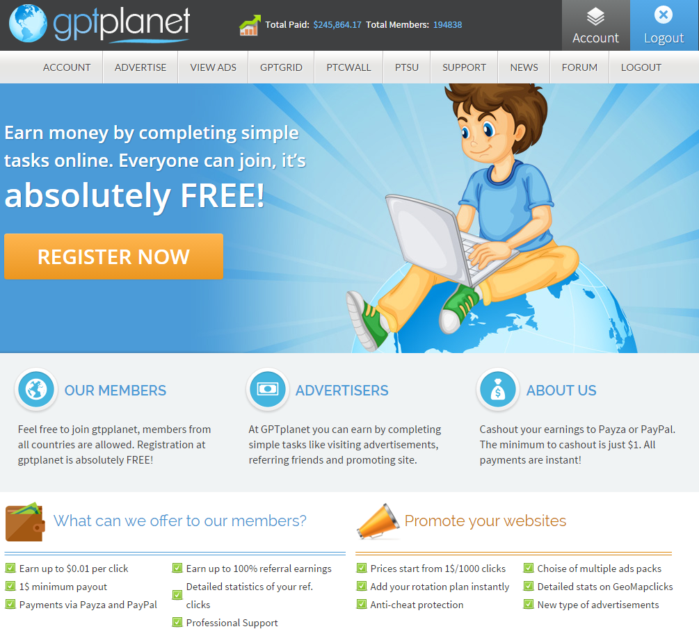 gptplanet - Top and best PTC and Faucet Sites in the year 2019