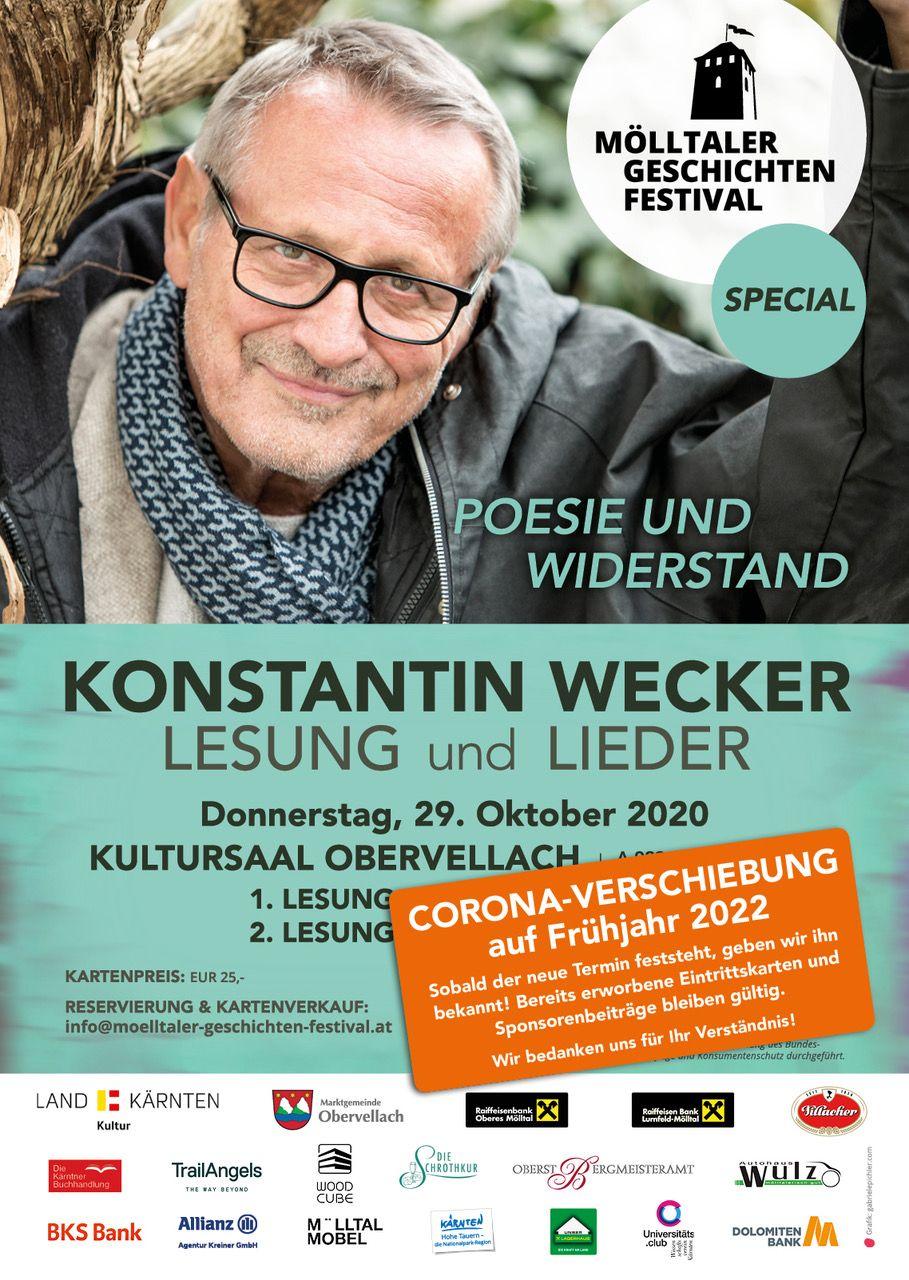 Konstantin Wecker Lesung auf das Frühjahr verschoben... leider...