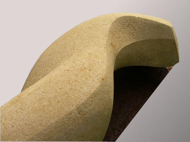 BEWEGUNG,      Kalkstein, Stahlplatte   (Ausschnitt),     H 58 B 60 L 145 cm