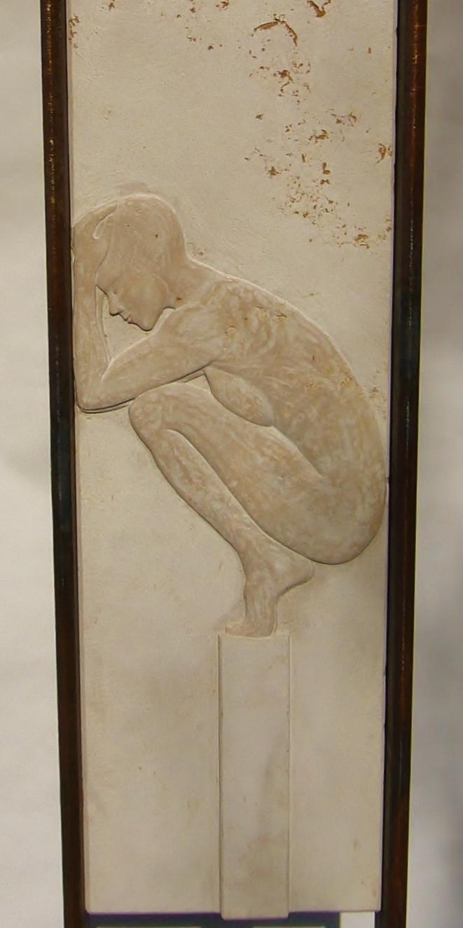 O.T.  ,               Kalkstein, Stahlrahmen, (Relief)