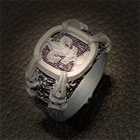 Kunststoffmodell von einem Gremlin Wappenring zur Ansicht für den Kunden