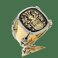Vollwappen in Gelbgold auf Wappenring (Gremlin) in Gelbgold und Weissgold