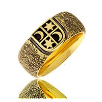 Herrenring in Gelbgold mit Wappenschild und Motiv