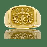 Wappenring in Gelbgold, Form und Wappen auf Kundenwunsch