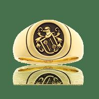 Damen-Wappenring in Gelbgold, ovale Form mit Wappen auf Kundenwunsch