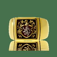 Wappenring in Gelbgold und Weissgold, Klassik-Cushin Form mit Wappen auf rotem Grund auf Kundenwunsch
