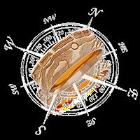 Schmuckstücke mit Ausschnitten einer bestimmten Stelle auf der Landkarte. Persönliche Koordinaten auf dem Ring oder Anhänger