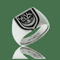 Wappenring in Schildform und Wappen-Motiv in Weissgold