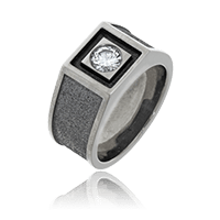 Wappenring mit Diamant in Weissgold