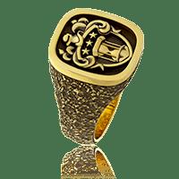 Wappenring mit mehrteiligem Familienwappen in Gelbgold