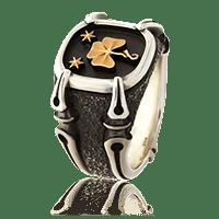 Silber Gremlin Wappenring mit Rotgold Wappen-Motiv vom Familienwappen