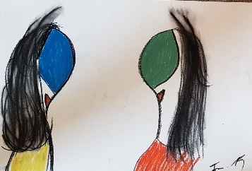 "Die Miguren - ""Teufelinnen"" 29,7 cm x 42 cm Kohle, Pastelölkreide, Aquarellkreide auf 170 g Papier Frau Nancy 2019"