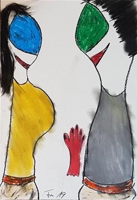 """Die Miguren - """"Hand aufs Herz"""" 29,7 cm x 42 cm Kohle, Pastelölkreide, Aquarellkreide auf 170 g Papier Frau Nancy 2019"""