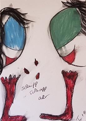 "Die Miguren - ""Schnipp Schnapp ab"" 29,7 cm x 42 cm Kohle, Pastelölkreide, Aquarellkreide auf 170 g Papier Frau Nancy 2019"