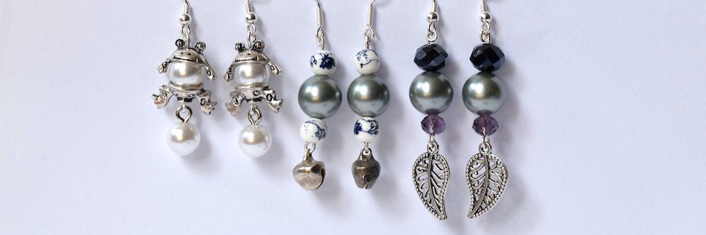 Ohrhänger mit Perlen und 952 Silber
