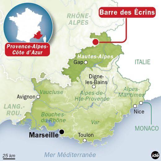 Une carte de France pour vous situer. Ici, ils appellent cet endroit : la barre des Écrins.