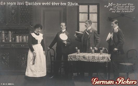 AK Es zogen drei Burschen wohl über den Rhein. Um 1900