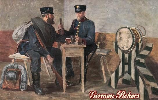 AK Künstler Zwei Biertrinker am Tisch