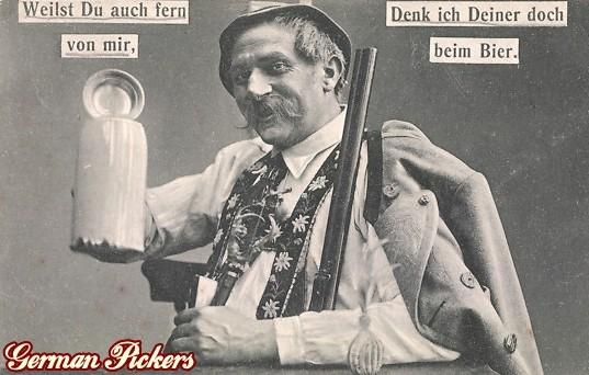 AK Bayern - Jäger - Weilst du auch fern von mir, Denk ich deiner doch beim Bier