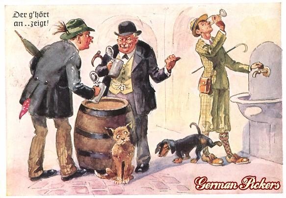 AK Männer trinken Bier. Dackel pinkelt Wassertrinker an.
