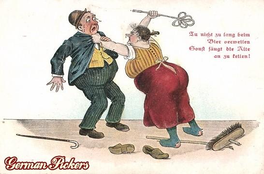 AK Ehefrau schimpft Ehemann - Tu nicht zu lang beim Bier verweilen