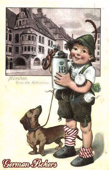 AK Hofbräuhaus München - Bub mit Dackel und Bierkrug
