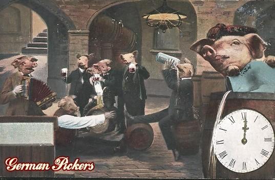AK Menschliche Schweine trinken Bier in Wirtshaus