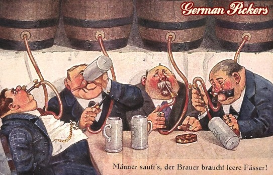 AK Ernst Schlemo -  Dicke Männer trinken Fässer aus Schläuchen - Männer saufts, der Brauer braucht leere Fässer