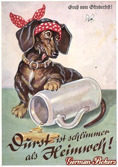 AK Dackel und Bierkrug - Durst ist schlimmer als Heimweh