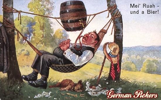 AK Ernst Schlemo - Mei Ruah und a Bier - Biertrinker auf Hängematte