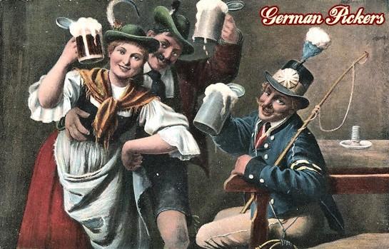 AK Künstler - Kutscher und Paar lächelnd beim Bier