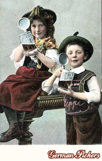 AK Zwei Kinder trinken Bier aus Bierkrügen