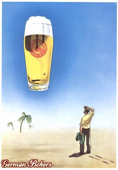AK Mann in Wüste sieht Bierglas