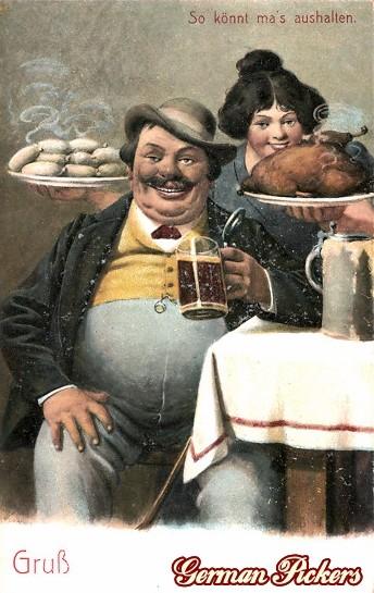 AK Dicker Mann mit Bier, Weißwurst und Braten