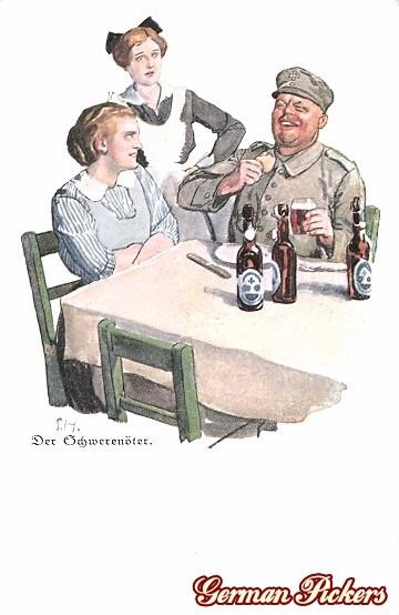 AK Ernst Heilemann - Der Schwerenöter Soldat mit Bier und Damen