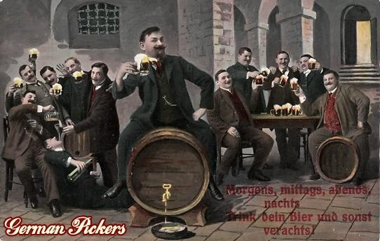 AK Biertrinker auf Fass - Morgend, mittags, abends, nachts, trink dein Bier und sonst verachts