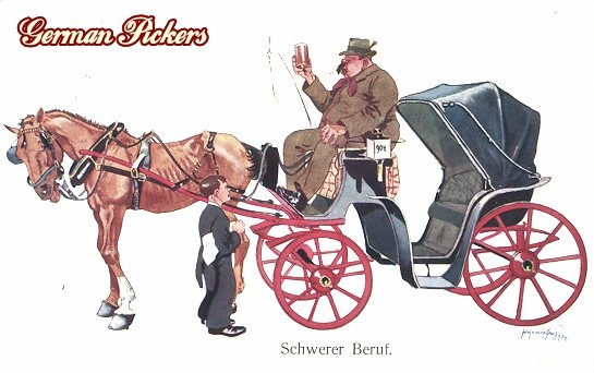 AK Fritz Schoenpflug - Kutscher trinkt Bier - Schwerer Beruf
