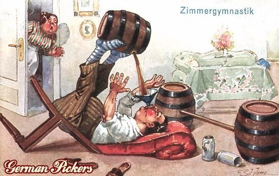 AK Ernst Schlemo - Zimmergymnastik Dicker Mann mit Fässern